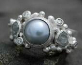 Rough Diamond, Diamond Melee and Saltwater Pearl Engagement Band- Custom Made Custom Colour