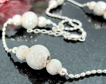 "Vintage MILOR STERLING TEXTURED Bead Necklace Silver 17 3/4"" Chain Snowball"