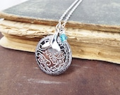 Whale Tale - Whale Tale, Swarovski Blue Bead and Painted Embossed Locket Necklace