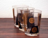Vintage set of 3 Cera US Coin Cocktail Glasses