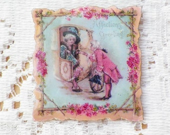 Sweet French Looking Aqua and Pink Vintage Valentine Image Pin / Brooch with Glitter and Gold Leaf Pen, Romantic / Marie Antoinette