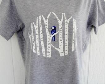 Blue Jay in Birch Forest Ladies T-Shirt