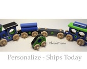 4 Car Hand Painted Wooden Toy Train Hand Made, Handmade Wooden Toy Train FOUR CARS