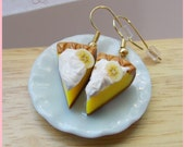 Polymer clay 14kt gold Banana Cream Pie Earrings miniature food jewelry