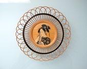 Japanese Home Decor Wood Wooden Basket Woven Geisha Plate Wall Art