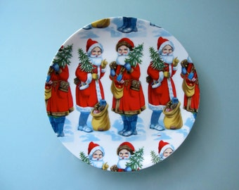 Santa Claus Plate Holiday Serving Plate Collectable Plate a Company of Friends Japan 8 inches