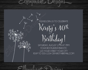 Dandelion Birthday Invitation, suit s women, adult, teen, 30th, 40th ...