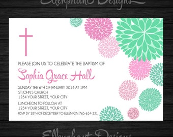 Baptism Invitation, christening, first communion, confirmation, girl, pink, teal, turquoise, floral, custom invite, digital file, you print