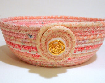 Coiled Fabric Bowl in Baby Shower Pink