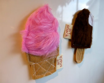 Plush Ice Cream Magnets, Unique Magnets, Ice Cream Magnets
