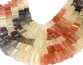 """Multi moonstone shaded square heishi beads 7"""" strand ombre"""