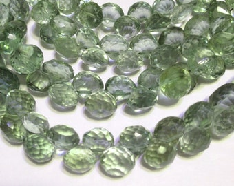 Green Amethyst Prasiolite 4 faceted candy kiss onion briolettes AAA Quality