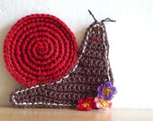 Red Snail Crochet Coasters (set of two)