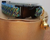 Boy Kitten Collar / Small Cat Collar in Two Tone Blue with Gold Accents.