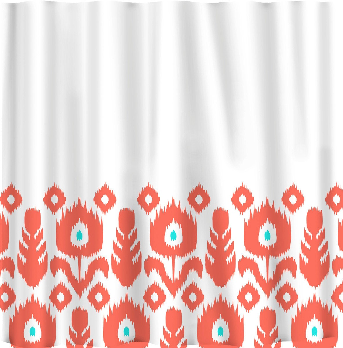 Custom Personalized Ikat Bottom Shower Curtain Your Colors