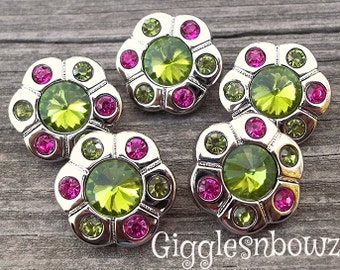 Sale Sale!! RHiNeSToNe BuTToNS- Set of 5 LiME GReeN/ SHoCKING PiNK Rhinestone Buttons Flower Centers Headband Supplies 18mm