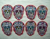 3 Dia de Los Muertos Sugar Skull Fabric Iron On Appliqués