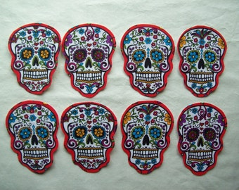 3 Dia de Los Muertos Sugar Skull Fabric Iron On Appliqués