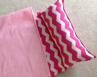 Personalized nap mat, Great for daycare or preschool. Girls pink chevron, Soft and cuddly.