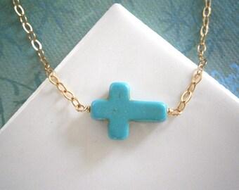 Turquoise Cross Necklace, Sideways Cross Necklace, Choker Necklace, Petite Cross, Gold Choker