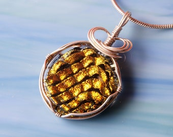 Handmade Dichroic Glass Pendant Necklace Silver Wrap