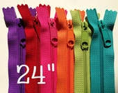 SALE, 24 inch Handbag zippers, long pull, Six YKK zippers to match bright fabrics - purple, red, hot pink, orange, green apple, turquoise