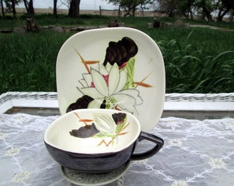 Vintage Teacup Tea Cup and Saucer  Lotus flower Hand Painted Redwing Pottery