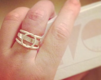 2-in-1 Stacked Ring: Cage Ring + Band