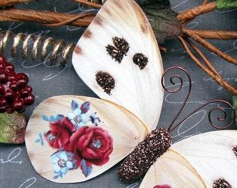 Butterfly Embellishments Vintage Rose