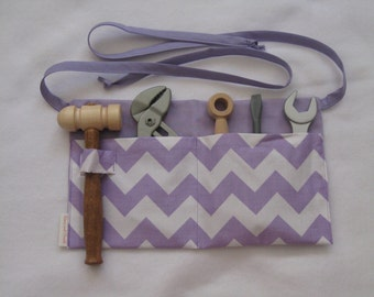 Lavender Chevron with Lavender Children Tool Belt - Ready to Ship girl purple half apron Children's apron
