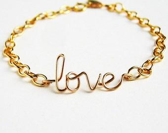 Gold love Bracelet 14k Gold Fill. Aziza Jewelry.