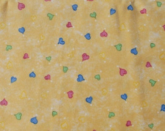 Quiltsy Destash Party Troy Flannel Quilting Fabric Multicolor hearts on yellow 1.75 yards
