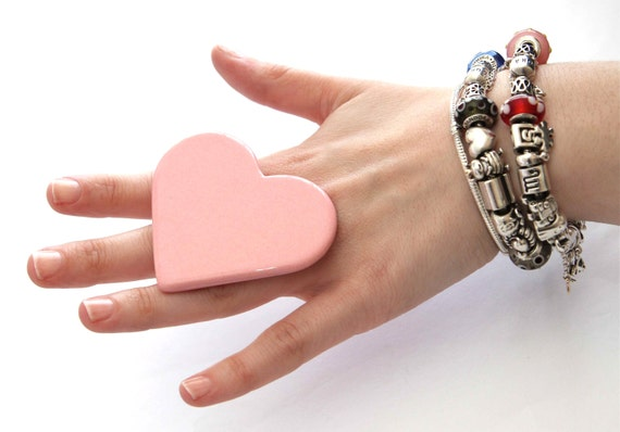 Valentine Pink Heart Ring Ceramic - Ceramic jewelry, big ring, fashion ring, large ring, - StudioLeanne- 2.5 inch