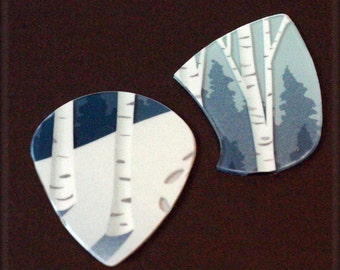 Birch Tree-Guitar Picks-Upcycled-Gift cards-