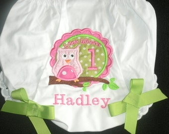 Personalized Birthday Owl Bloomers Diaper Cover