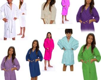 Kids Personalized Hooded Bath Robe Waffle Weave Childrens bathrobe