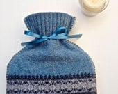 Nordic Hot Water Bottle Cozy Blues Repurposed Lambswool Hottie Cover Includes Bottle