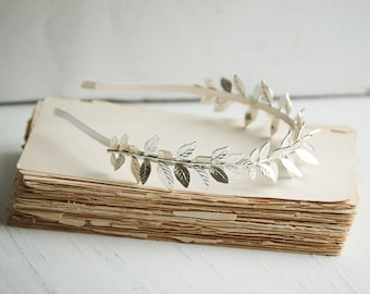 Leaf Branch Headband Silver Leaf Wedding Grecian Bridal Woodland Garden Fern Tiara