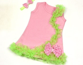 Pink and Lime Baby Dress Sale Free Headband and Free Shipping