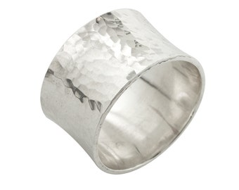 Hammered Silver Ring Band with a Flare made to order in your size