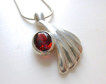 Abstract Sterling Silver Pendant with a Big Red Garnet