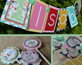 Confetti and Bunting First Birthday Party Decorations Fully Assembled