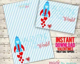 INSTANT DOWNLOAD Printable Out of this world! Valentines for Valentines Day perfect for school or Valentine's Day Parties