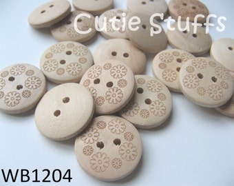 20mm Wood Buttons - Flowers - Set of 6