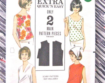 Butterick 3286 1960s Women or Misses Blouse Pattern  Bust 36 inches