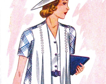 Uncut 1930s Pictorial Review Printed Pattern 9322  Sewing Vintage 30s Dress Pattern 30s Jacket Pattern  Bust 38 inches
