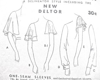 Rare 1930s Sleeves in Several Styles Sewing Pattern by Butterick 3760