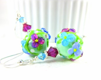 Colorful Floral Earrings, Mint Green Blue Purple Pink Earrings, Lampwork Earrings, Glass Earrings, Floral Jewelry, Flower Earrings - Peyton