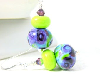 Purple Blue Green Glass Earrings, Colorful Drop Earrings, Fun Jewelry, Lampwork Earrings, Simple Earrings, Bright Color Earrings - Wind