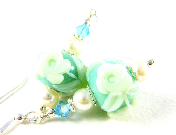 Tiffany Blue Earrings, White Rose Earrings, Lampwork Earrings, Floral Earrings, Glass Earrings, Pearl Earrings, Blue White - Something Blue